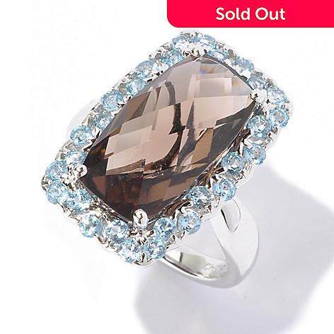129-558 - NYC II® 6.50ctw Smoky Quartz & Swiss Blue Topaz Ring