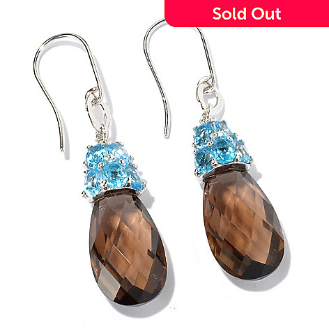 129-559 - NYC II™ 13.26ctw Smoky Quartz & Swiss Blue Topaz Drop Earrings