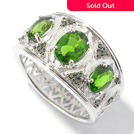 129-562 - NYC II™ 1.46ctw Chrome Diopside & Green Diamond Brushed Ring