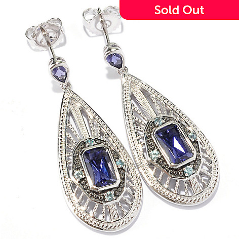 129-565 - NYC II™ 1.75ctw Radiant Cut Iolite & Blue Zircon Teardrop Earrings