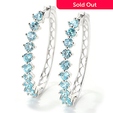 129-567 - Gem Treasures® Sterling Silver 7.00ctw White Zircon Oval Hoop Earrings