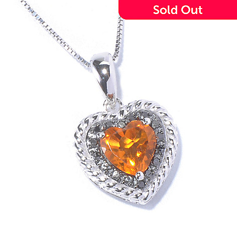 129-568 - Gem Treasures® Sterling Silver 1.10ctw Citrine & Diamond Heart Pendant w/ Chain