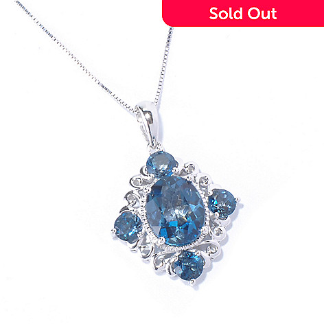 129-569 - Gem Treasures® Sterling Silver 6.00ctw London Blue Topaz Pendant w/ Chain