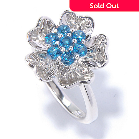 129-570 - Gem Treasures® Sterling Silver London Blue Topaz Flower Ring