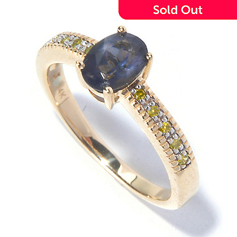 129-571 - Gem Treasures® 14K Gold Oval Blue Spinel & Diamond Solitaire Ring