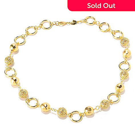 129-579 - Toscana Italiana 18K Gold Embraced™ 20'' High Polished Beaded Station Necklace