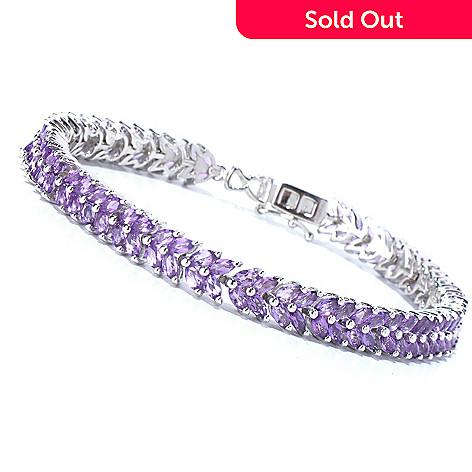 129-584 - Gem Insider™ Sterling Silver 7.5'' Marquise Amethyst Bracelet