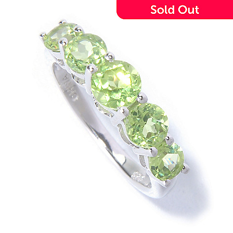 129-585 - Gem Insider™ Sterling Silver 1.75ctw Graduated Gemstone Five-Stone Ring