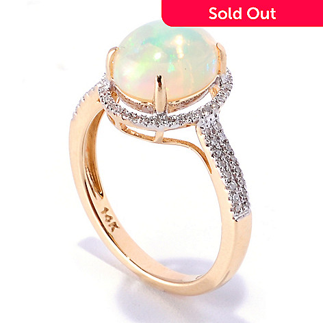 129-586 - Gem Treasures® 14K Gold Oval Ethiopian Opal & Diamond Halo Ring