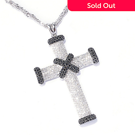 129-587 - Gem Treasures® Sterling Silver 1.77ctw Zircon & Black Spinel Cross Pendant w/ Chain