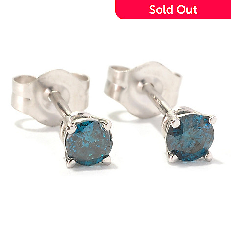 129-588 - Diamond Treasures 14K White Gold 0.25ctw Round Blue Diamond Stud Earrings