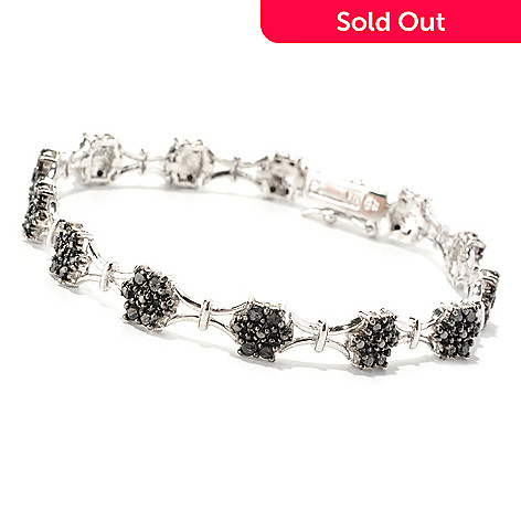 129-595 - Diamond Treasures Sterling Silver 7.5'' Black Diamond Square Link Bracelet