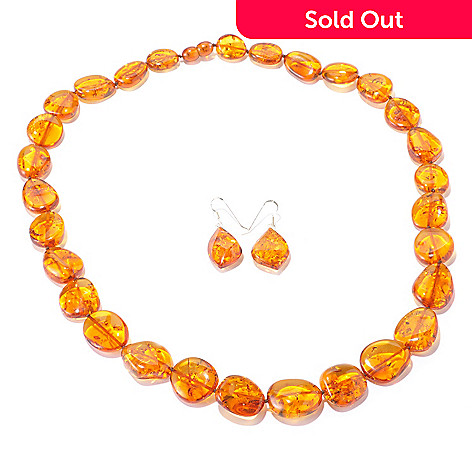 129-597 - Gem Insider™ Sterling Silver Colored Amber Earrings & 24'' Necklace Set