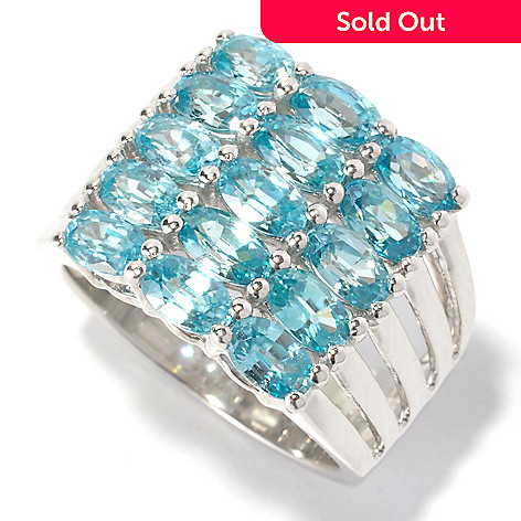 129-599 - Gem Treasures Sterling Silver 5.25ctw Blue Zircon Five-Row Ring