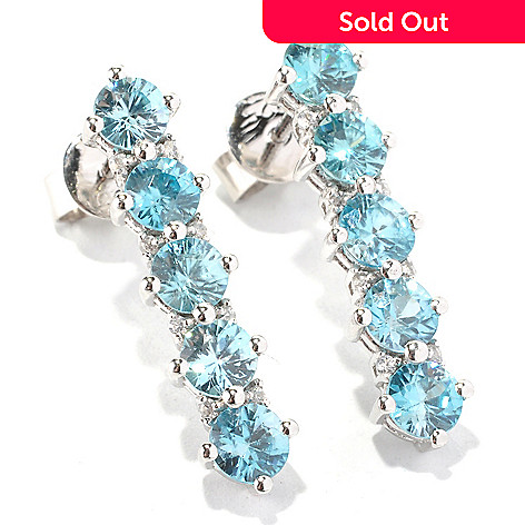 129-600 - Gem Treasures® Sterling Silver 3.42ctw Blue & White Zircon Five-Stone Earrings