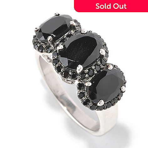 129-601 - Gem Treasures Sterling Silver Oval & Round Black Spinel Three-Stone Ring