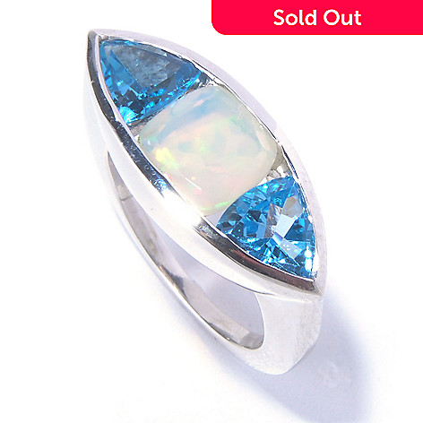 129-602 - Gem Insider™ Sterling Silver 3.09ctw Opal & Swiss Blue Topaz Marquise Ring