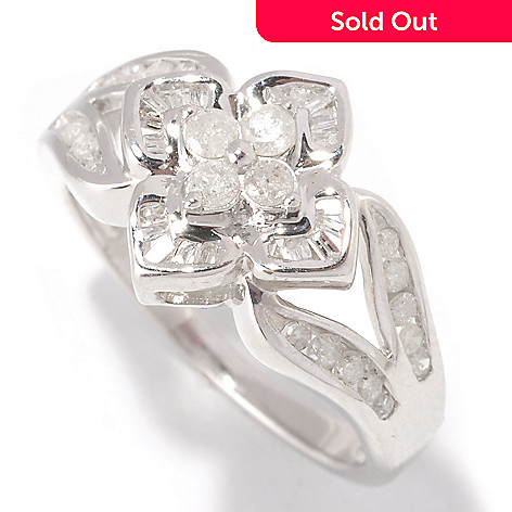 129-603 - Diamond Treasures Sterling Silver 0.50ctw Round & Baguette Diamonds Flower Ring