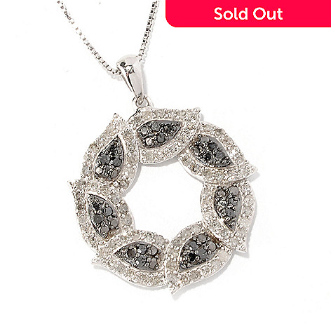 129-604 - Diamond Treasures Sterling Silver 18'' Black & White Diamond Circle Pendant w/ Chain