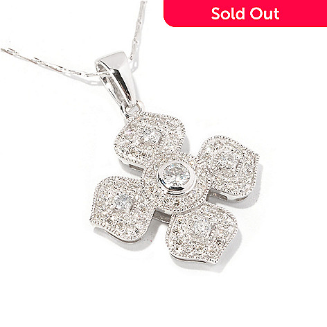 129-606 - Beverly Hills Elegance 14K White Gold 0.90ctw Diamond Pendant w/ 18'' Chain