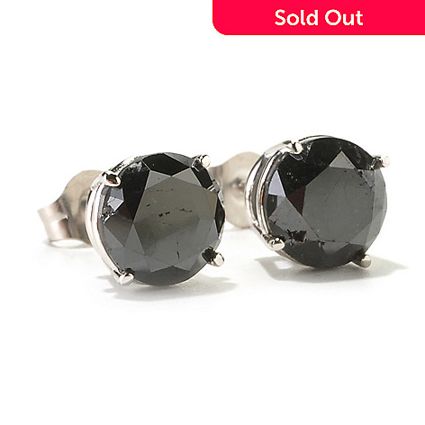 129-608 - Diamond Treasures 14K White Gold 3.00ctw Round Black Diamond Stud Earrings