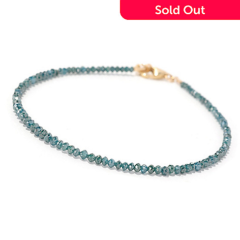 129-610 - Diamond Treasures® 14K Gold 7.25'' Diamond Bead Bracelet