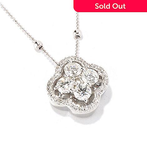 "129-616 - Beverly Hills Elegance® 14K White Gold 1.01ctw Diamond Clover Pendant w/ 18"" Chain"