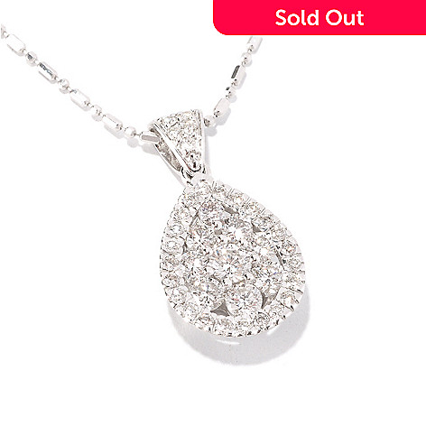 129-617 - Beverly Hills Elegance 14K White Gold 1.00ctw Diamond Pear Shape Pendant w/ 18'' Chain