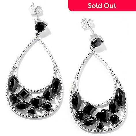129-619 - Gem Treasures® Sterling Silver 1.75'' Multi Shaped Black Spinel Teardrop Earrings