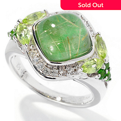 129-621 - Gem Insider™ Sterling Silver 4.06ctw Rutilated Quartz & Jade Doublet Ring