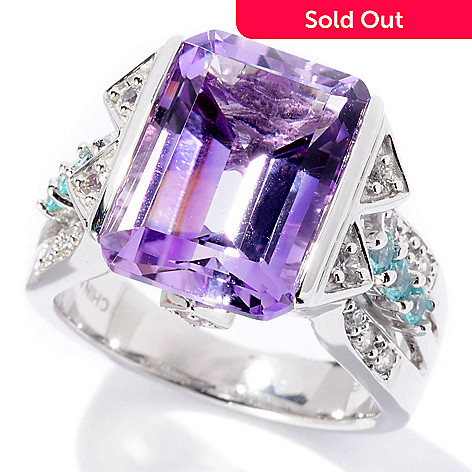 129-622 - Gem Insider™ Sterling Silver 5.83ctw Amethyst, Sapphire & Apatite Ring