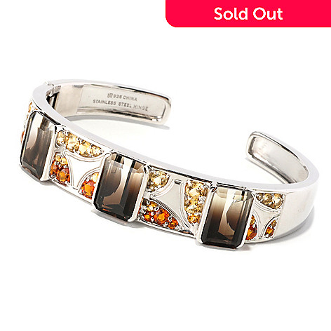 129-625 - Gem Insider 7.5'' Sterling Silver 18.24ctw Bi-Color Quartz & Citrine Bangle Bracelet