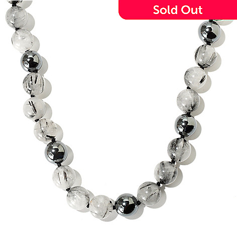 129-630 - Gem Treasures Sterling Silver 24'' Rutilated Quartz & Hematite Bead Necklace