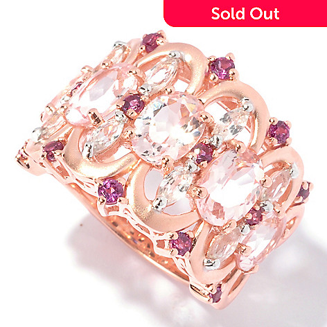 129-643 - NYC II 3.40ctw Morganite, White Zircon & Garnet Satin Finished Ring