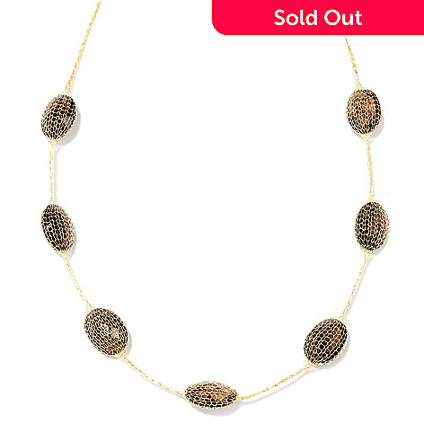 129-647 - Italian Designs with Stefano 14K Gold Mesh 18'' Smoky Quartz Necklace