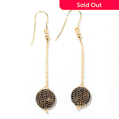129-648 - Italian Designs with Stefano 14K Gold Mesh 2'' 6.00ctw Smoky Quartz Earrings