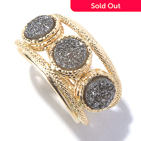 129-649 - Stefano Oro 14K Gold 6mm Triple Drusy Textured Ring