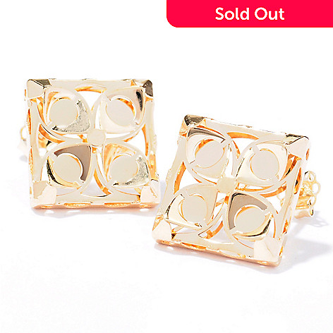 129-658 - Italian Designs with Stefano 14K Gold Mosaico Button Earrings