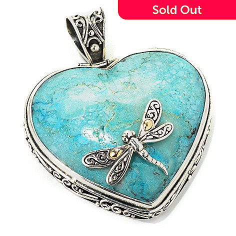 129-672 - Artisan Silver by Samuel B. 36 x 34mm Turquoise Heart Dragonfly Pendant