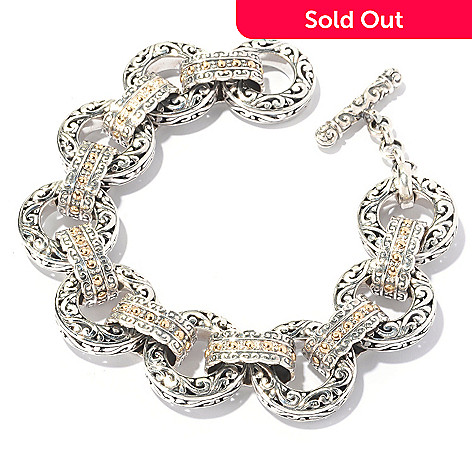 129-673 - Artisan Silver by Samuel B. Two-tone Textured Toggle Bracelet