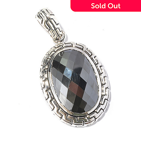 129-676 - Artisan Silver by Samuel B. 26 x 17mm Checkerboard Cut Hematite Pendant