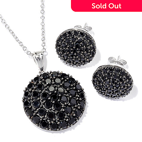 129-689 - Gem Treasures Sterling Silver Black Spinel Circle Pendant & Stud Earrings Set