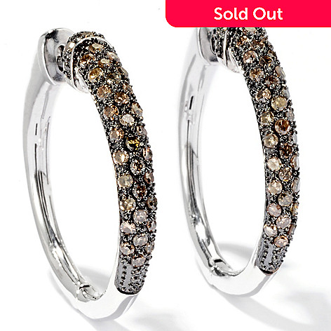 129-698 - Diamond Treasures Sterling Silver 1.00ctw Fancy Color Diamond Hoop Earrings