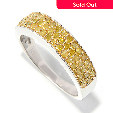 129-699 - Diamond Treasures® Sterling Silver 0.50ctw Pave Set Fancy Colored Diamond Band Ring