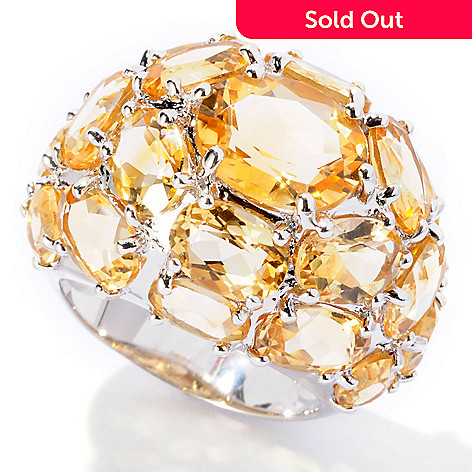 129-724 - Gem Insider Sterling Silver 12.99ctw Oval Citrine Dome Ring