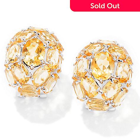 129-725 - Gem Insider™ Sterling Silver 22.62ctw Oval Citrine Dome Earrings