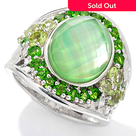129-728 - Gem Insider™ Sterling Silver 12 x 10mm Quartz Doublet & Multi Gemstone Ring