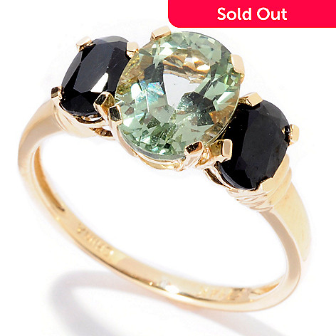 129-730 - Gem Insider™ 14K Gold 2.52ctw Apatite & Black Sapphire Three-Stone Ring
