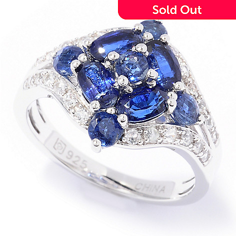 129-731 - Gem Insider™ Sterling Silver 1.94ctw Kyanite & White Sapphire Cluster Ring