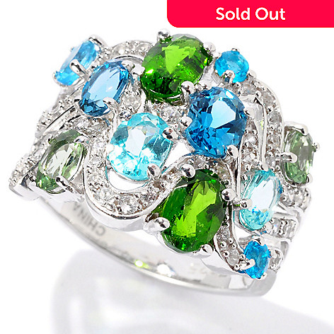 129-732 - Gem Insider™ Sterling Silver 2.70ctw Multi Gemstone Wide Wave Band Ring